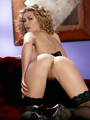 Heather Vandeven is super sexy as she plays with her blonde curls and hot boobs.